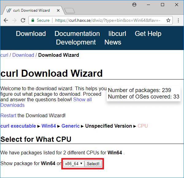 curl download wizard select cpu