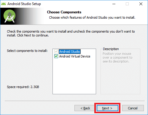 android studio installer choose components
