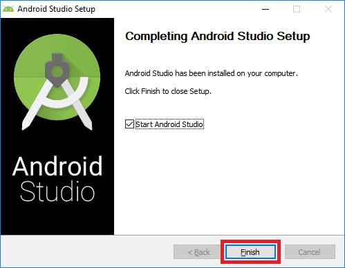 android studio installer finish