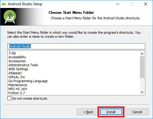 android studio installer start menu