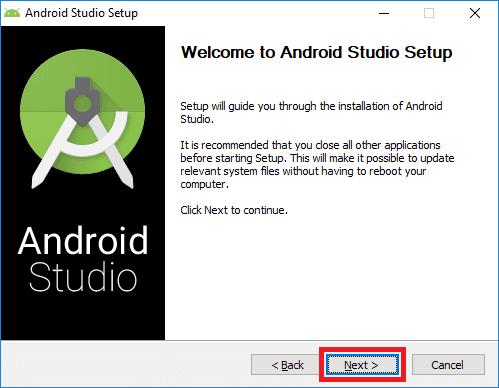 android studio installer start