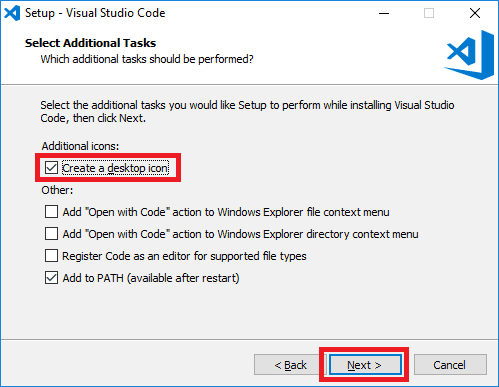 visual studio code installer additional tasks