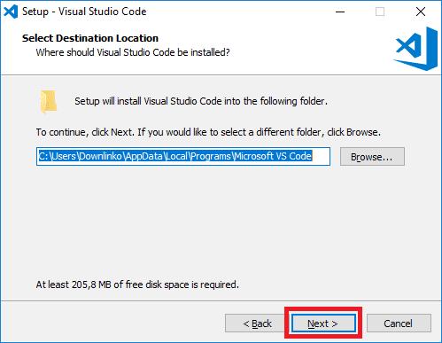 visual studio code installer destination location