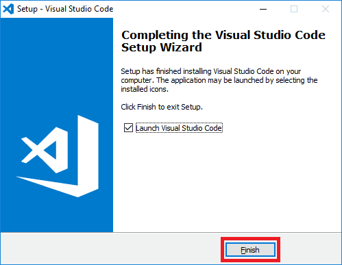 visual studio code installer finish