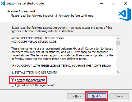 visual studio code installer license agreement