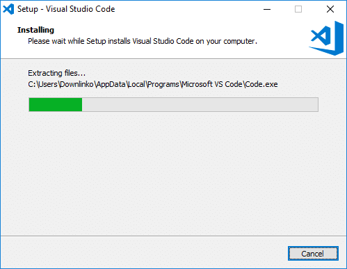 visual studio code installer progress