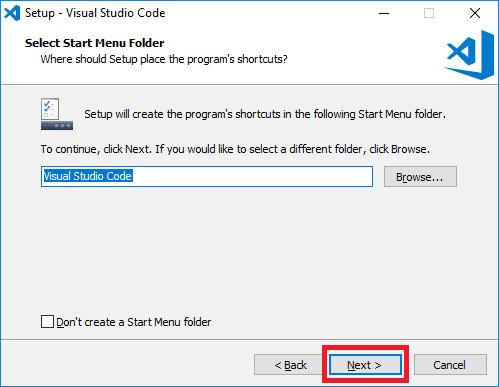visual studio code installer start menu folder