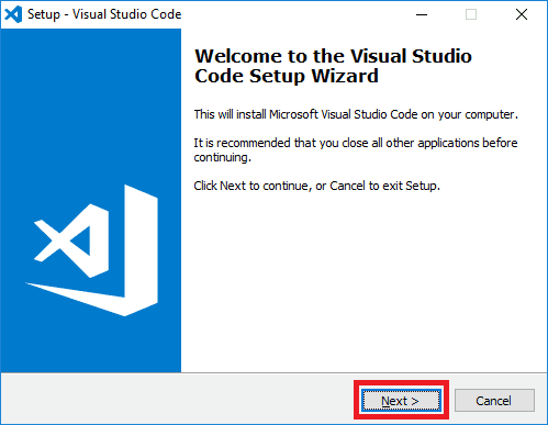 visual studio code installer start