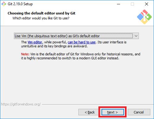 git installer default editor