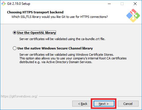 git installer https transport