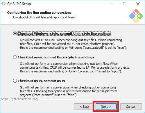 git installer line endings