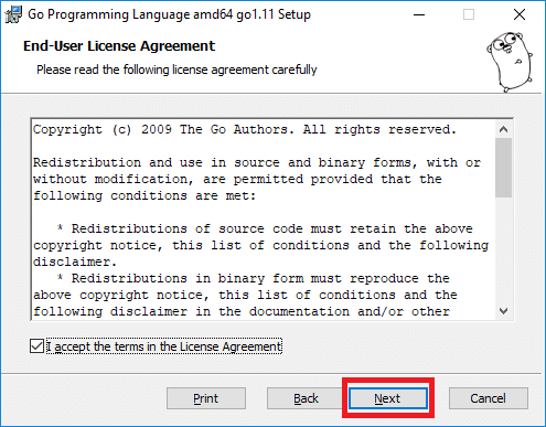 golang installer license agreement