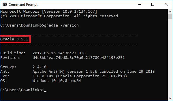 gradle 3.5.1 version output