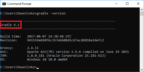 gradle 4-1 version output