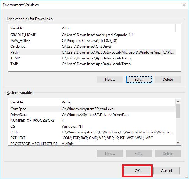 gradle 4-1 windows account environment variables