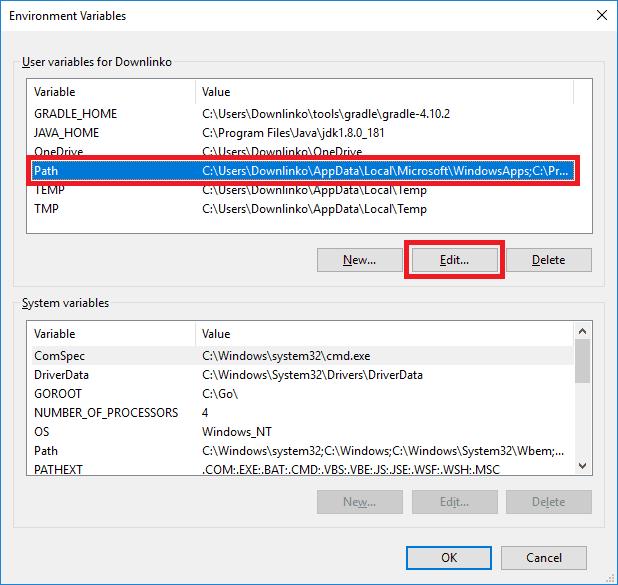 gradle edit path variable