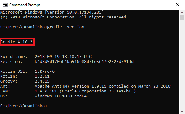 gradle version output