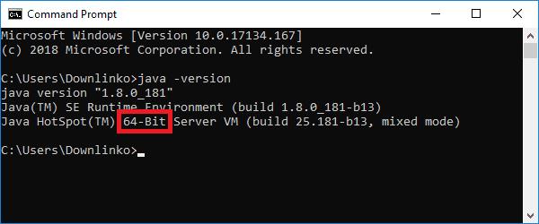 java installed bit version