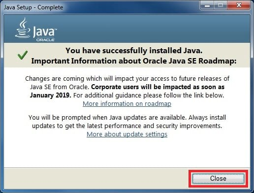 java 8 installer complete