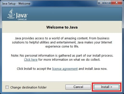 java 8 installer welcome
