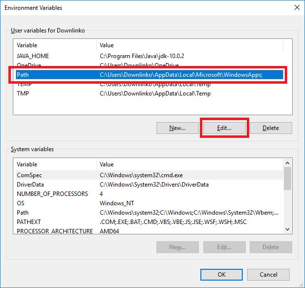 jdk 10 edit path variable