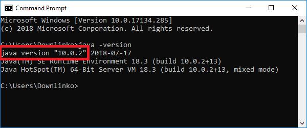 jdk 10 version output
