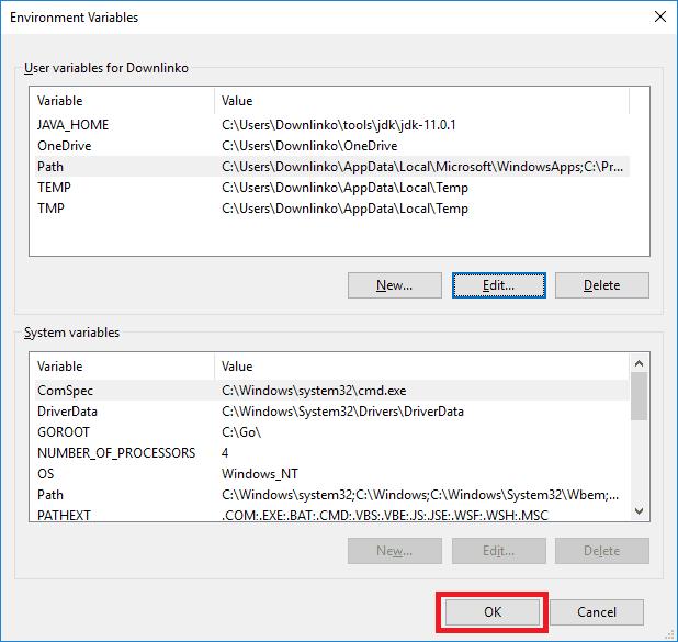 jdk 11 windows account environment variables