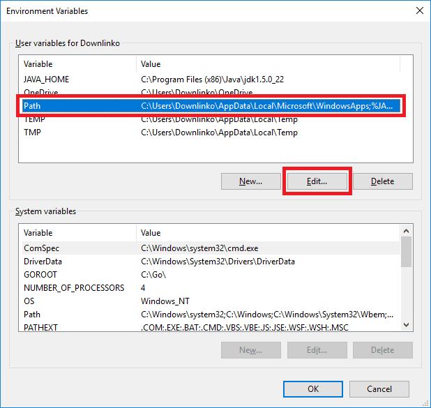 jdk 5 edit path variable