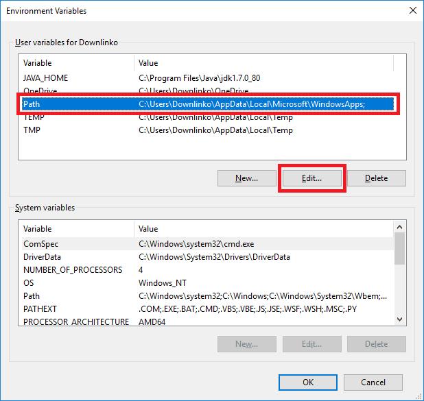 jdk 7 edit path variable