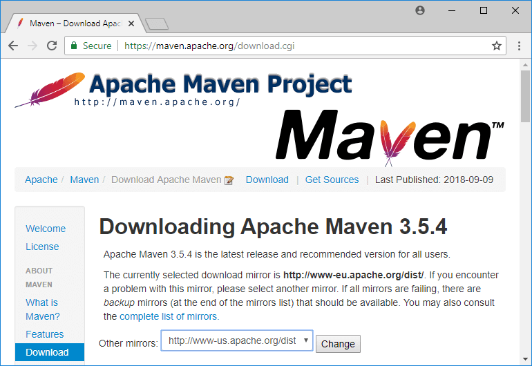 apache maven download page