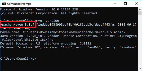 maven 3-5-0 version output