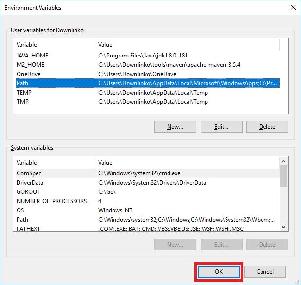 apache maven windows account environment variables