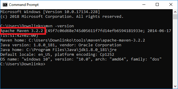 maven 3-2-2 version output