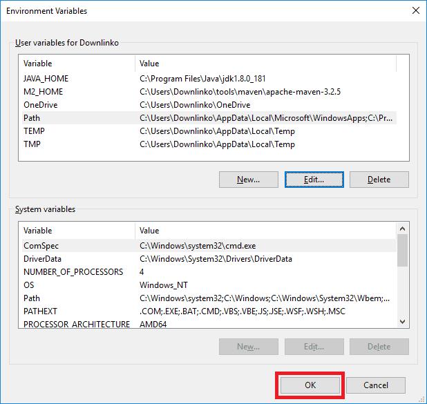maven 3-2-5 windows account environment variables