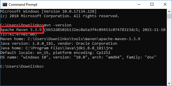 maven 3-3-9 version output