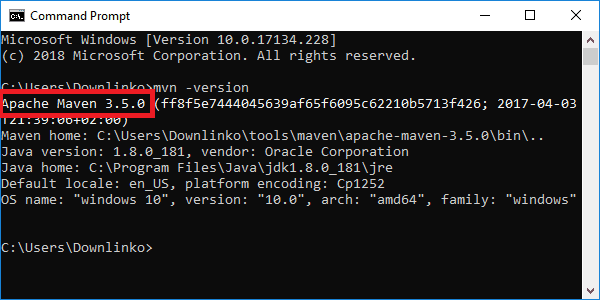 maven 3-5-0 version output