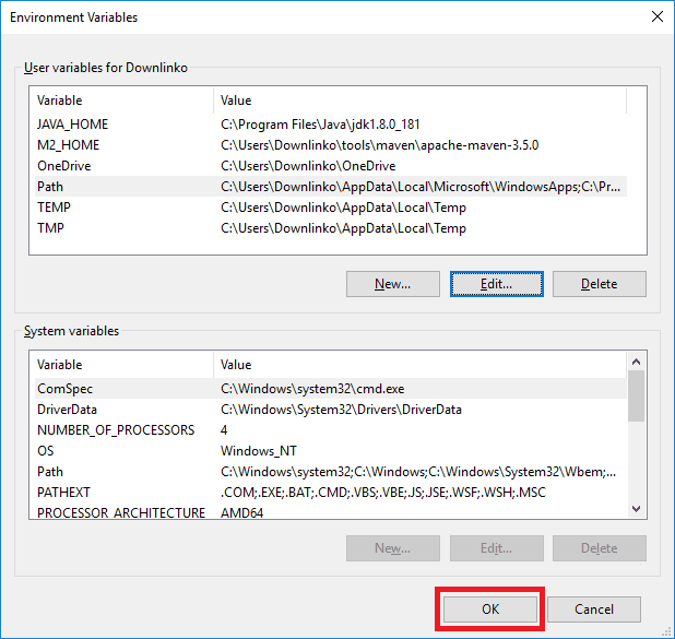 maven 3-5-0 windows account environment variables