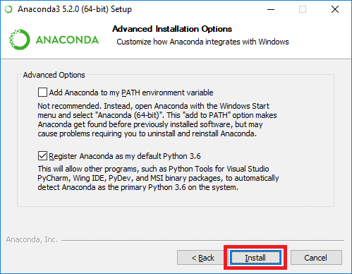anaconda advanced options