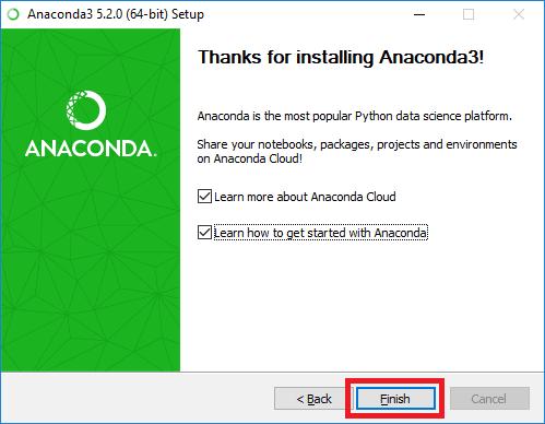 anaconda installation complete