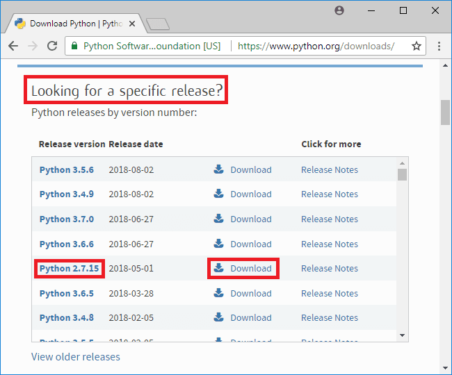 python 2-7-15 specific release section
