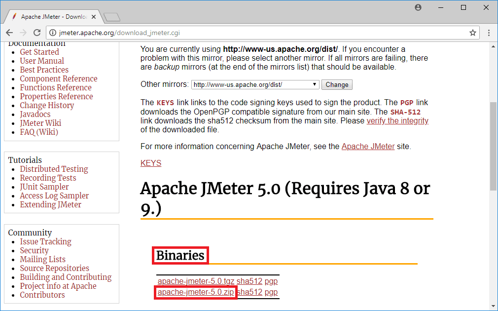 apache jmeter download page