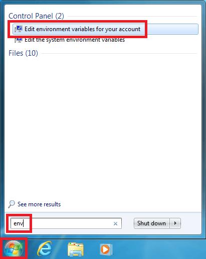 windows 7 search env