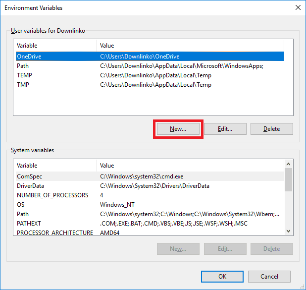 windows account environment variables new