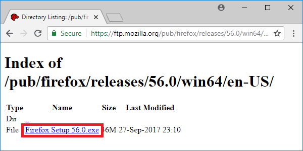 firefox 56 releases page executable