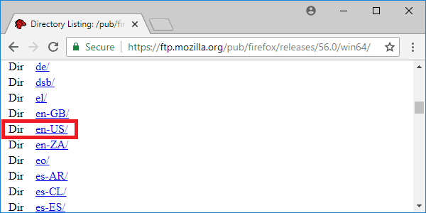 firefox 56 releases page language