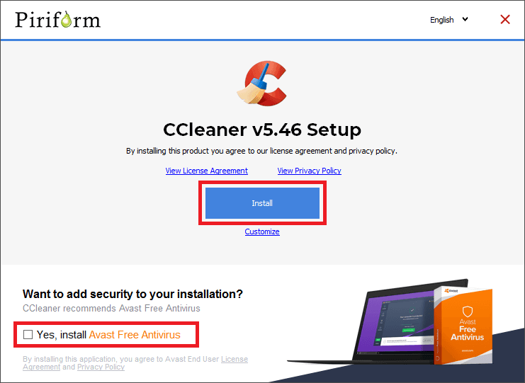 ccleaner installer start