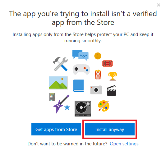 windows 10 install app not in store